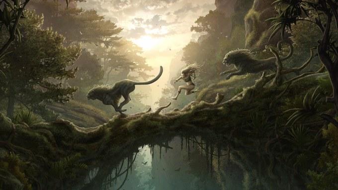 Fantasy-Art-Girl-Two-Lion-Wallpapers